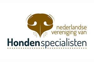 Logo Nederlandse Vereniging van Hondenspecialisten letters met een hondenneus